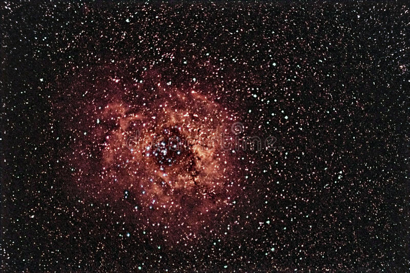 Beau ciel nocturne de Rosette Nebula Rose de ciel nocturne photo stock