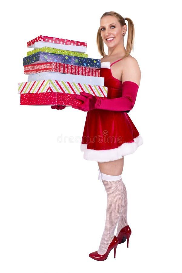 beau Claus vêtx s'user sexy de Santa de fille images stock