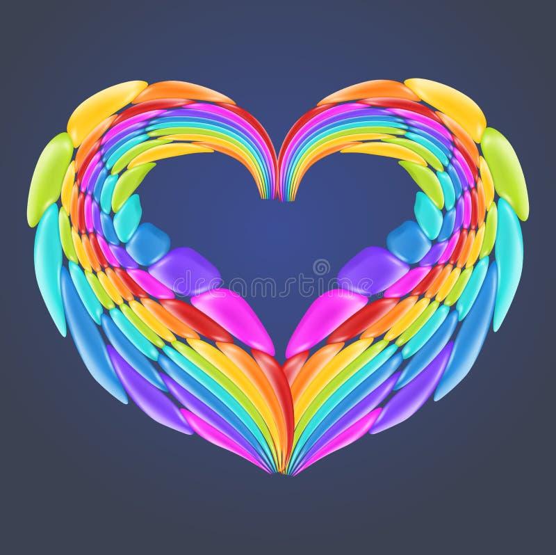Beau coeur d'arc-en-ciel avec les éléments brillants réalistes de vecteur illustration stock