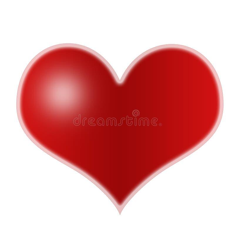 Beau coeur lustré rouge illustration de vecteur