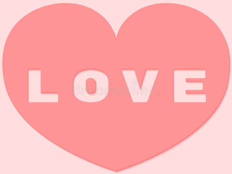 Beau coeur mignon de Saint-Valentin coupé du papier rose mou Conception de fond de symboles de vecteur dans la forme du coeur ave illustration stock