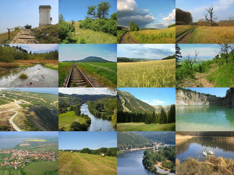 Beau collage tchèque de paysage photographie stock