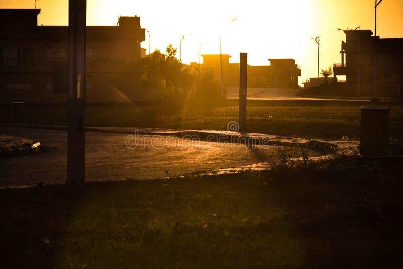 Beau coucher du soleil à Islamabad photographie stock libre de droits