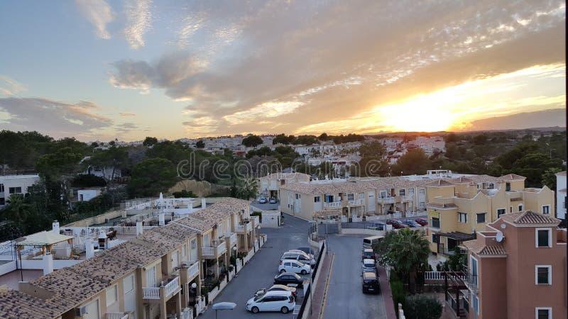 Beau coucher du soleil à Torrevieja, Espagne photos libres de droits