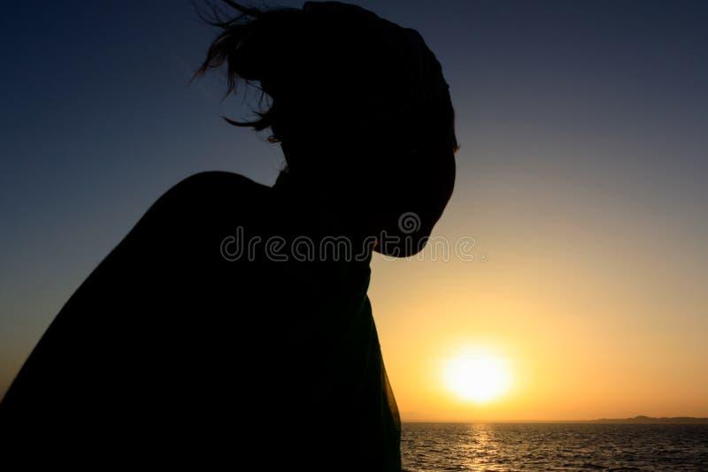 Beau coucher du soleil au-dessus de mer et de montagnes image stock