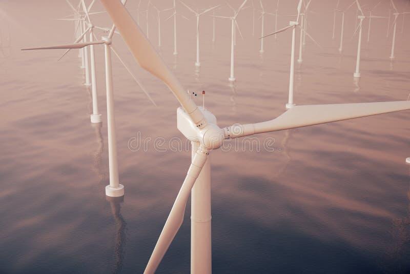 Beau coucher du soleil au-dessus des turbines de vent en mer, océan Énergie propre, énergie éolienne, concept écologique rendu 3d illustration stock