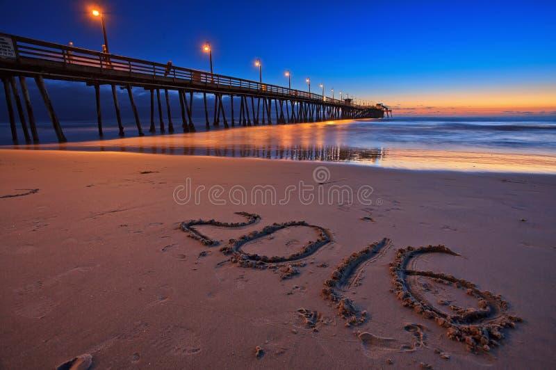 Beau coucher du soleil au pilier impérial de plage, San Diego, la Californie, Etats-Unis photo libre de droits