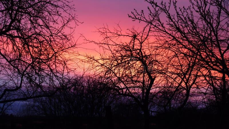 Beau coucher du soleil coloré de l'automne photos stock