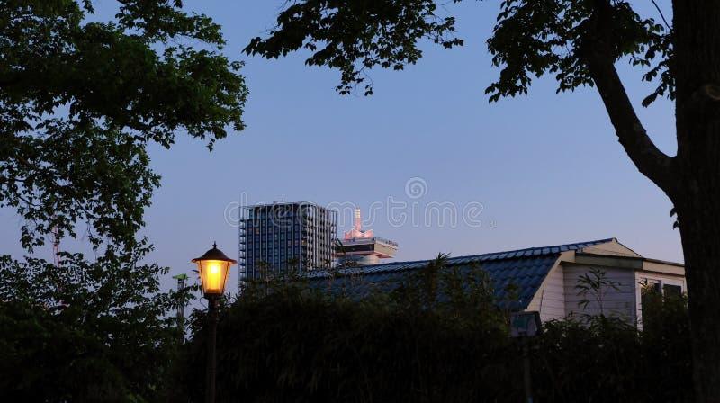 Beau coucher du soleil d'Amsterdam Vieilles maisons n?erlandaises typiques sur le pont et les canaux au printemps images libres de droits