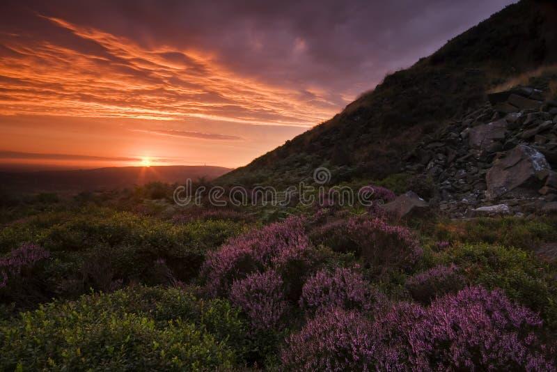beau coucher du soleil d'horizontal photographie stock