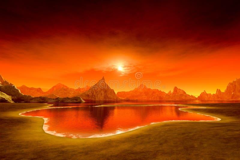 Beau coucher du soleil d'imagination au-dessus de l'océan illustration stock