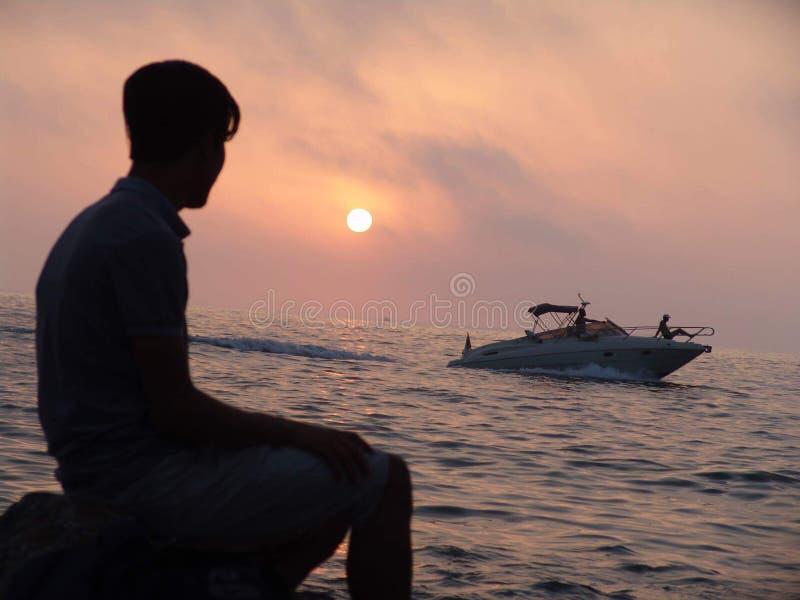 Beau coucher du soleil de ???? algérien de plages images libres de droits