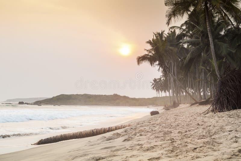 Beau coucher du soleil sur une plage de paradis photographie stock libre de droits