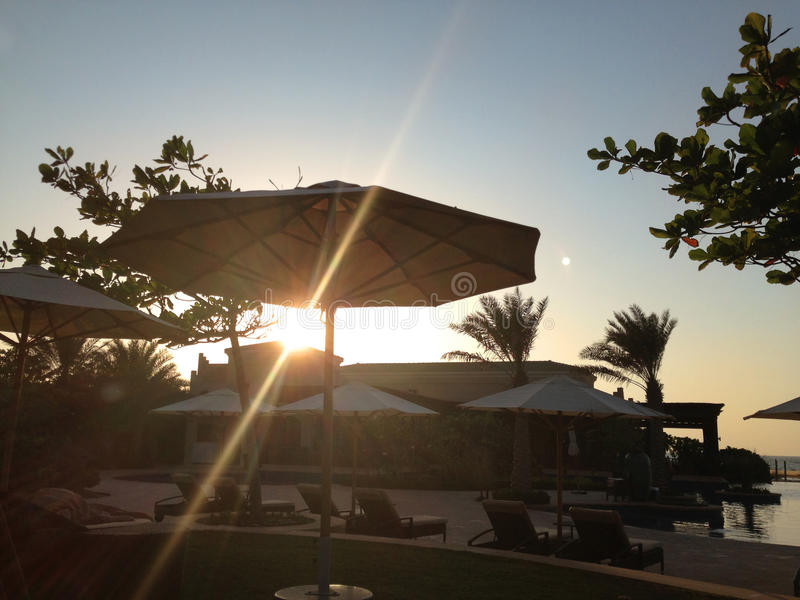 Beau coucher du soleil tropical avec le silhoette de palmiers image libre de droits