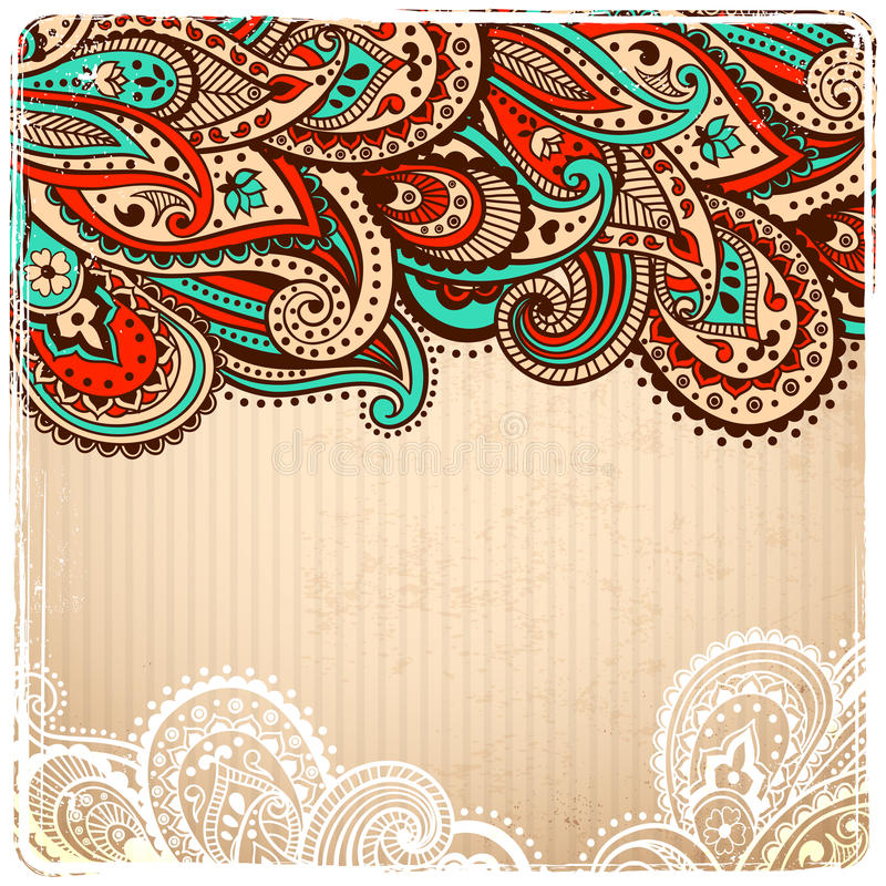 Beau cru Paisley illustration stock