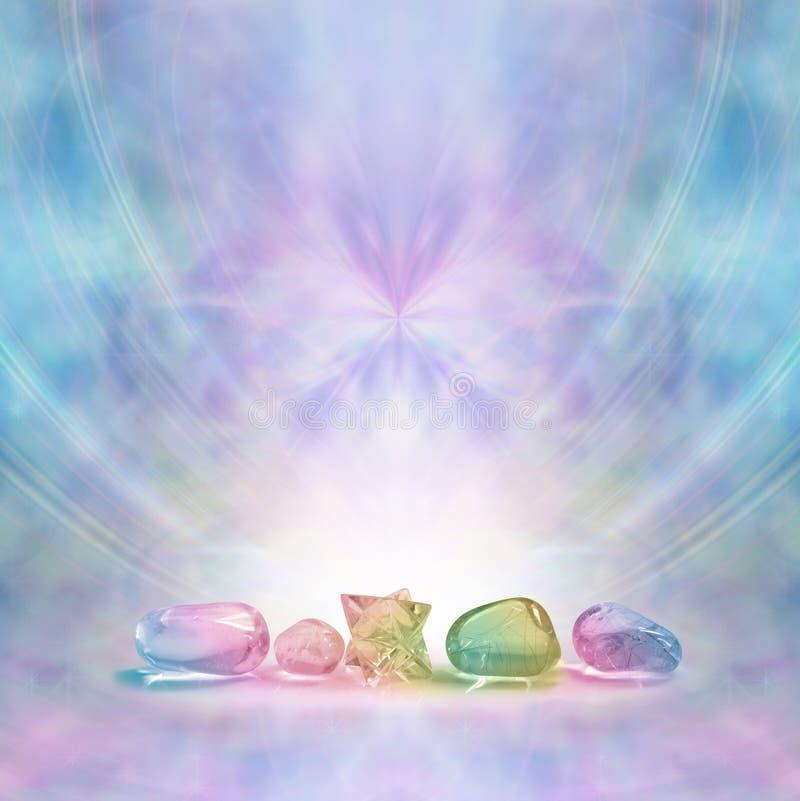 Beau Crystal Therapy Healing Stones illustration de vecteur