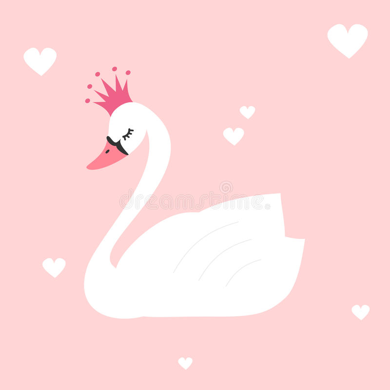Beau cygne mignon de princesse sur l'illustration rose de fond illustration stock