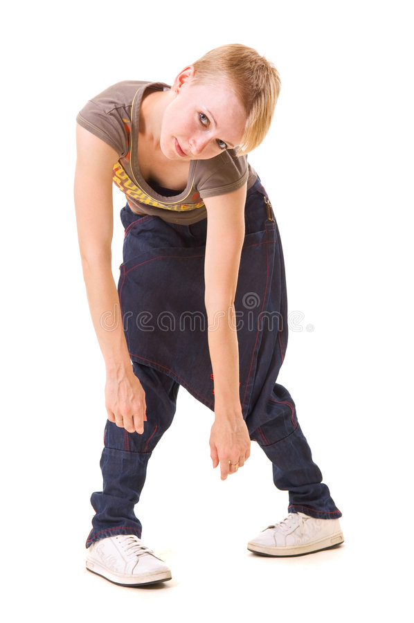 Beau danseur dans la pose étrange photographie stock libre de droits