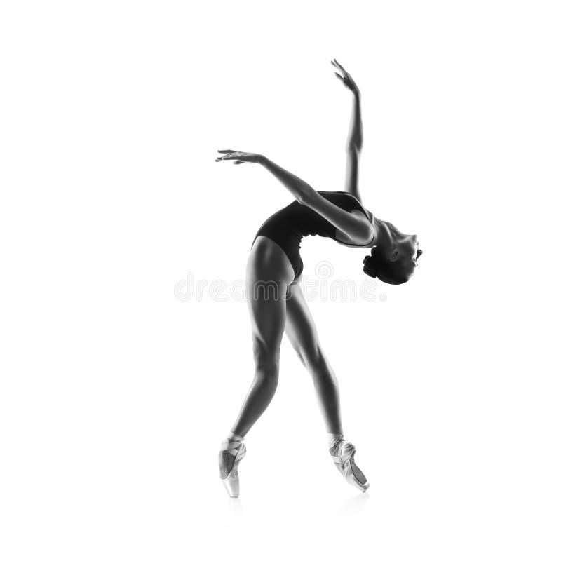 Beau danseur de ballet d'isolement sur le blanc image stock