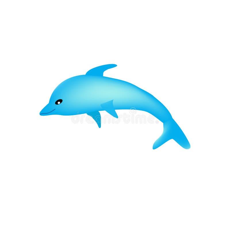 Beau dauphin de bande dessinée sur un fond blanc d'isolement illustration stock