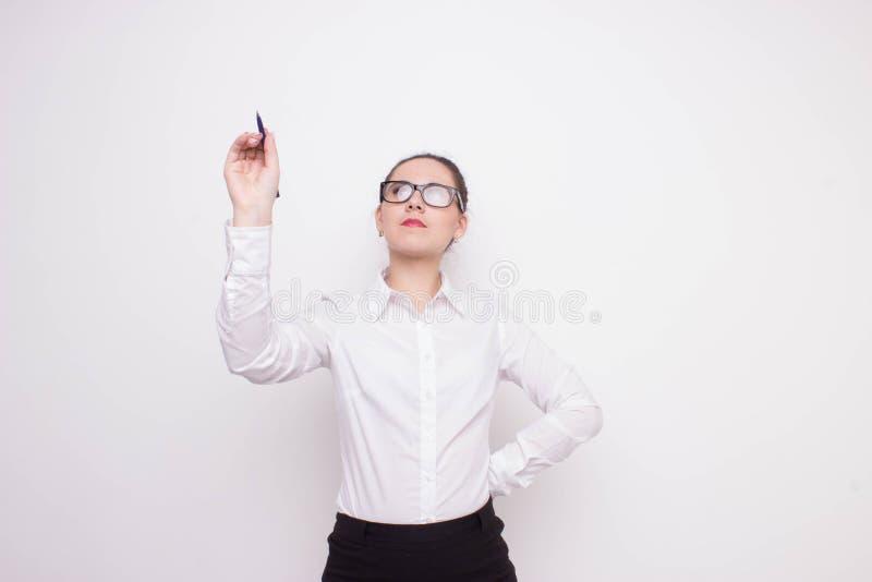 Beau dessin de femme sur un conseil de verre image libre de droits