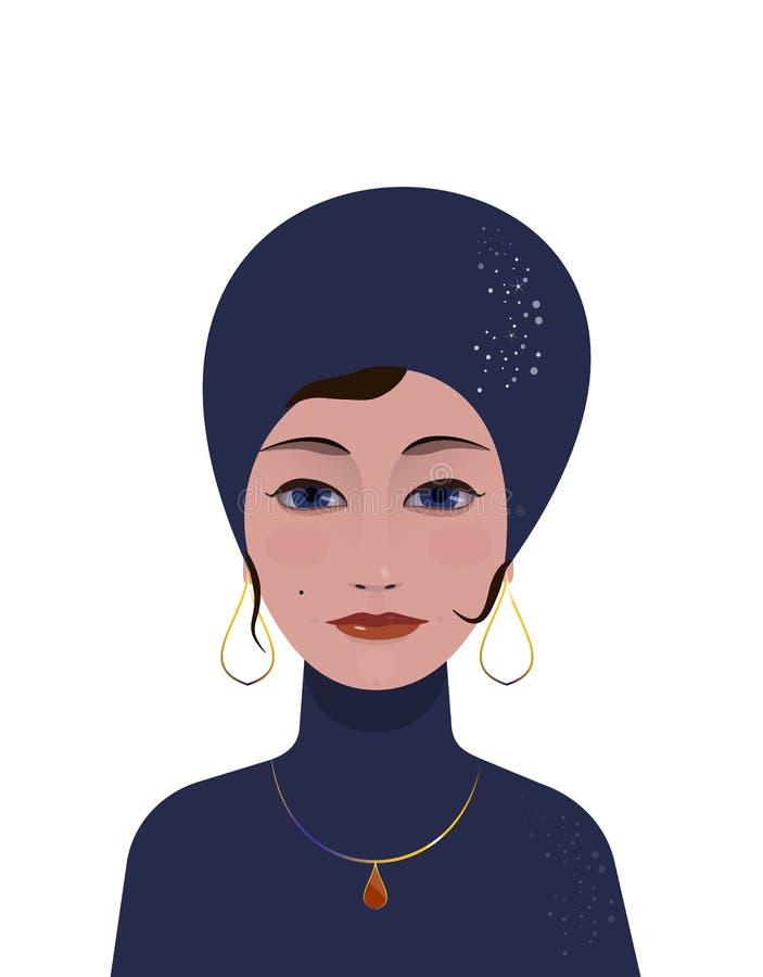 Beau devin gitan AR-Deco de femme illustration stock