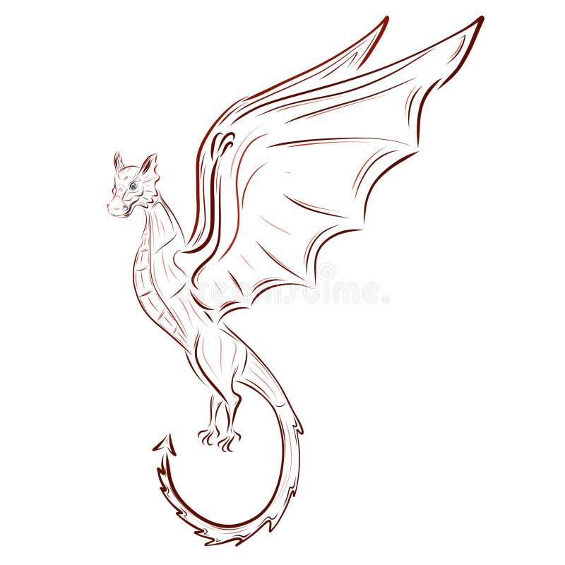 Beau dragon féerique en vol illustration de vecteur