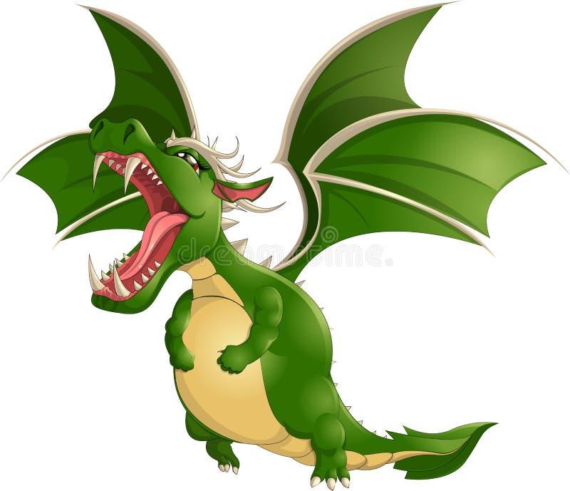 Beau dragon sur un fond blanc illustration de vecteur