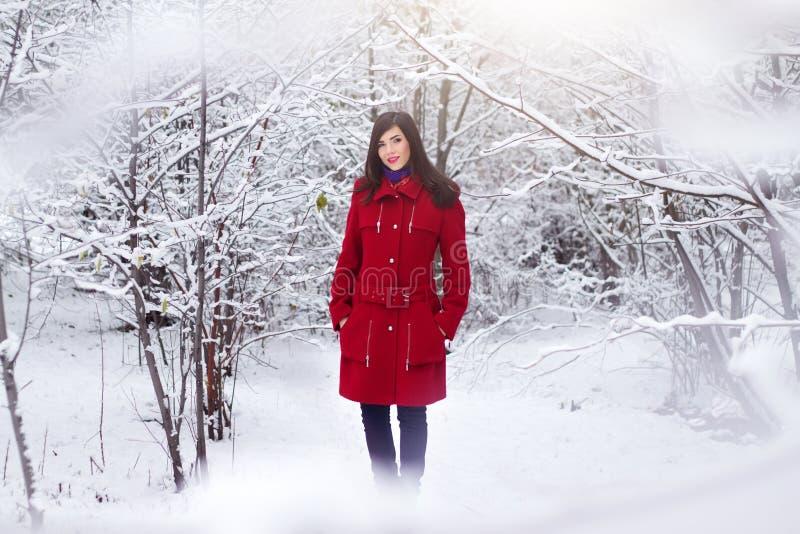 Beau femme élégant dans la couche rouge photos stock