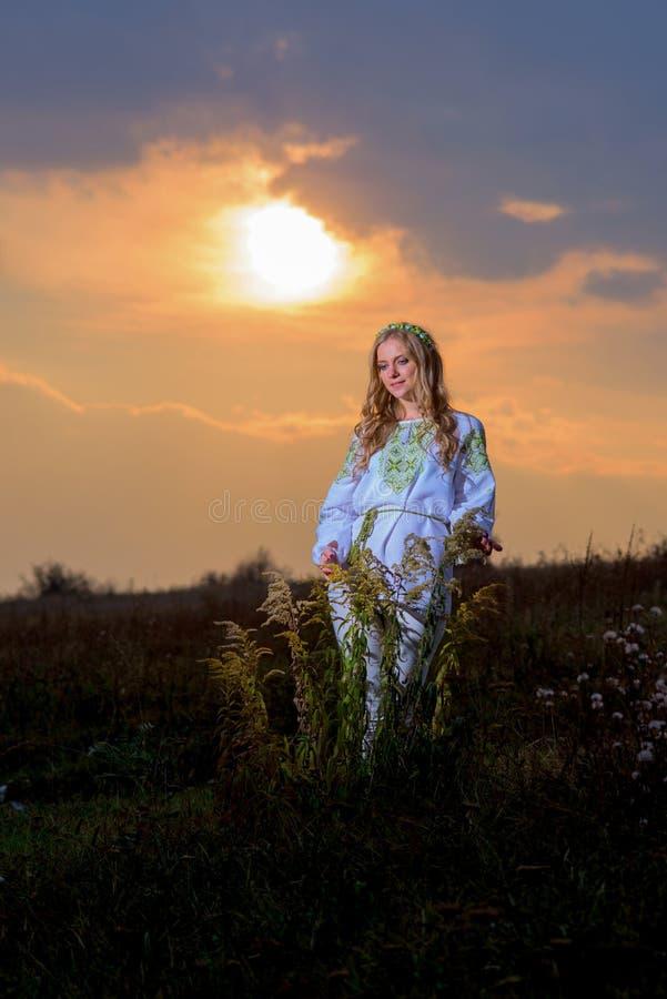 Beau femme au coucher du soleil images stock