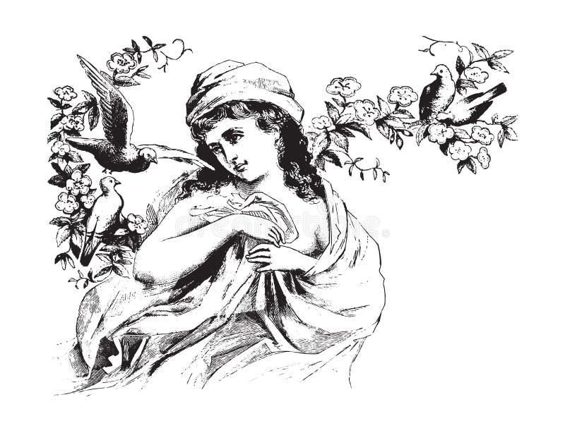 Beau femme avec l'illustration de cru d'oiseaux illustration stock