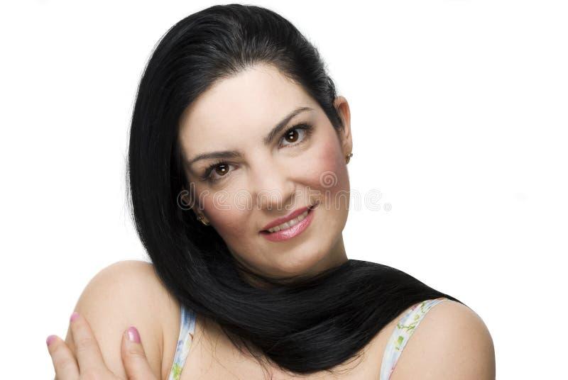 Beau femme avec le long cheveu photos stock