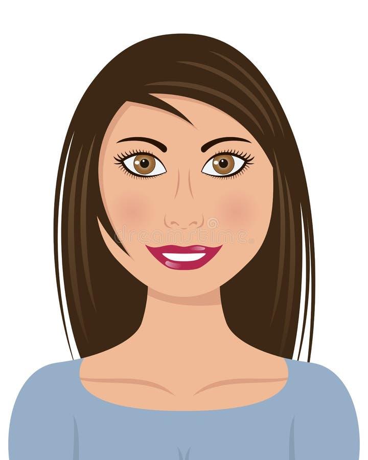 Beau femme avec le long cheveu brun illustration stock