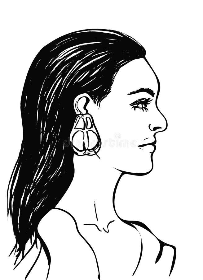 Beau femme avec le long cheveu noir Visage femelle dans le profil Icône de mode pour le salon de beauté Profil de jeune fille sen illustration libre de droits