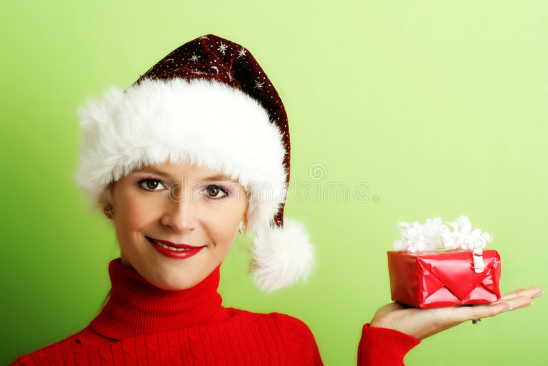 Beau femme avec un cadeau image libre de droits