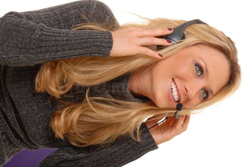 Beau femme blond au téléphone photos stock