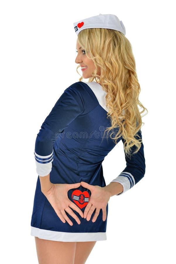 Beau femme blond dans le costume de marin. photos libres de droits