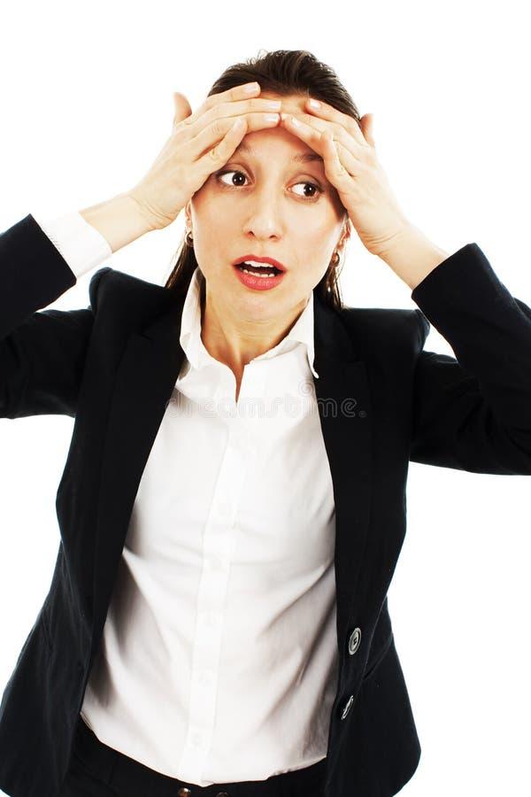 Beau femme d'affaires avec le mal de tête image stock