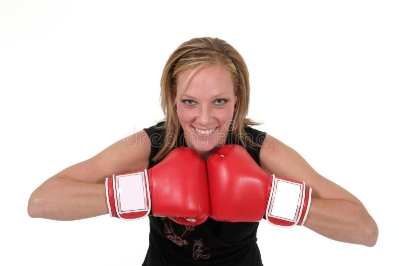 Beau femme d'affaires dans les gants de boxe 7 photo stock