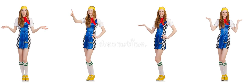 Beau femme dans la robe checkered image libre de droits