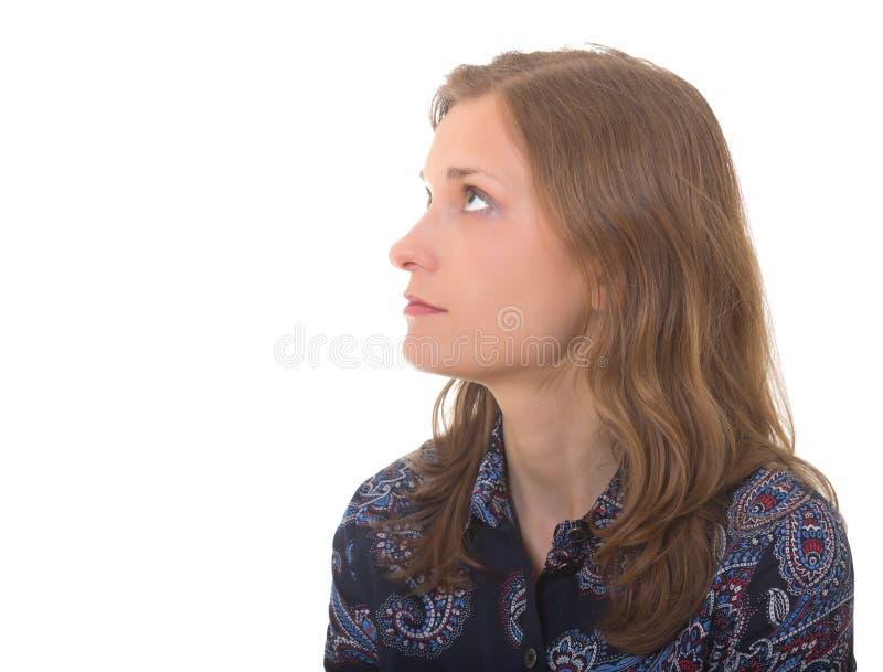 Beau femme dans le profil - d'isolement sur le blanc photographie stock libre de droits