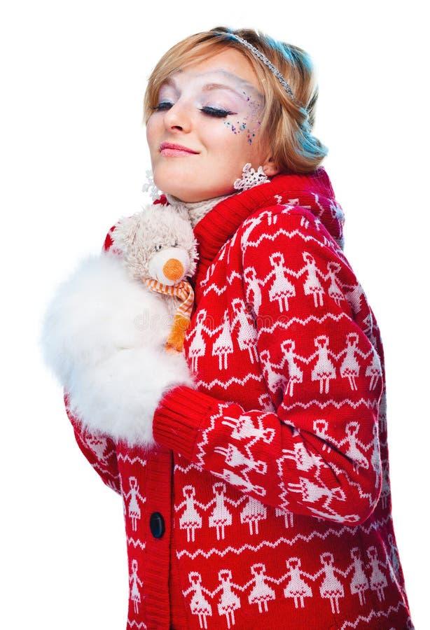 Beau femme dans le vêtement chaud photo libre de droits