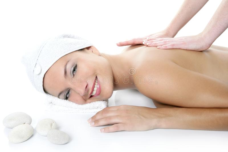 Beau femme de œil bleu de station thermale ayant le massage photos libres de droits