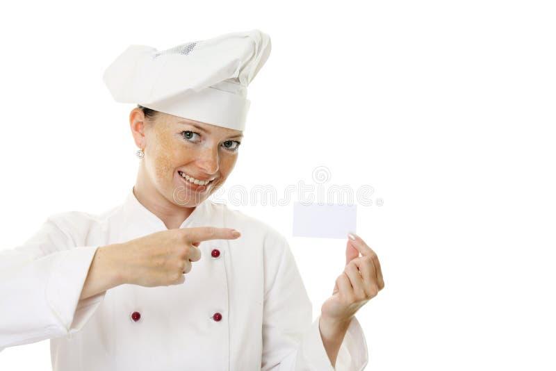 beau femme de fixation de cuisinier de carte vierge photo stock