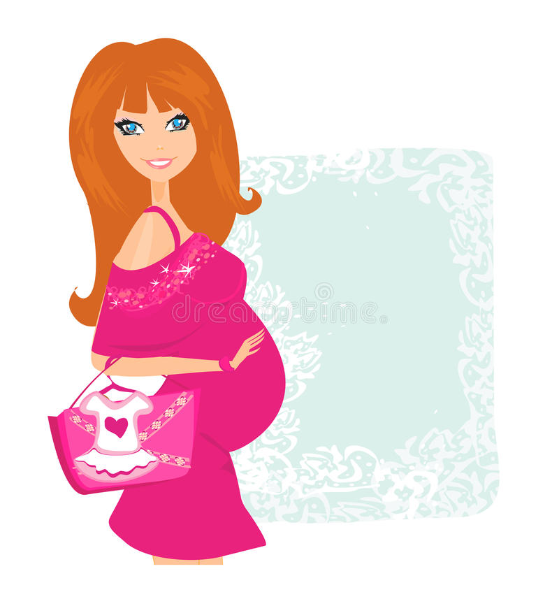 Beau femme enceinte sur des achats illustration de vecteur