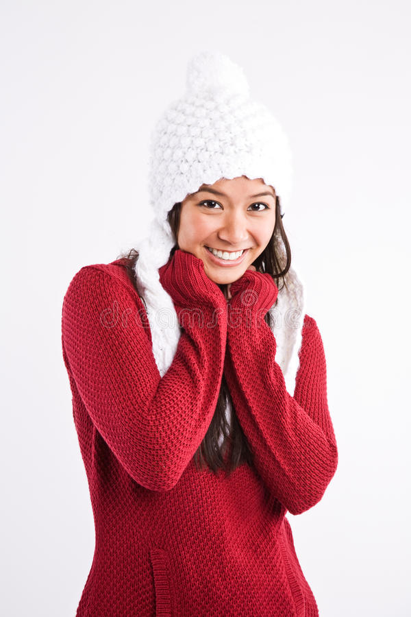 Beau femme heureux d'Asiatique de l'hiver photographie stock