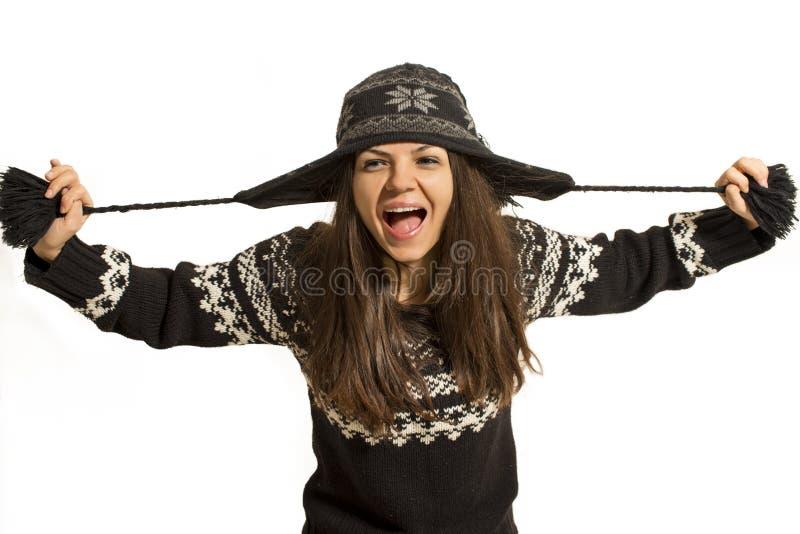 Beau femme heureux dans des vêtements de l'hiver photo libre de droits