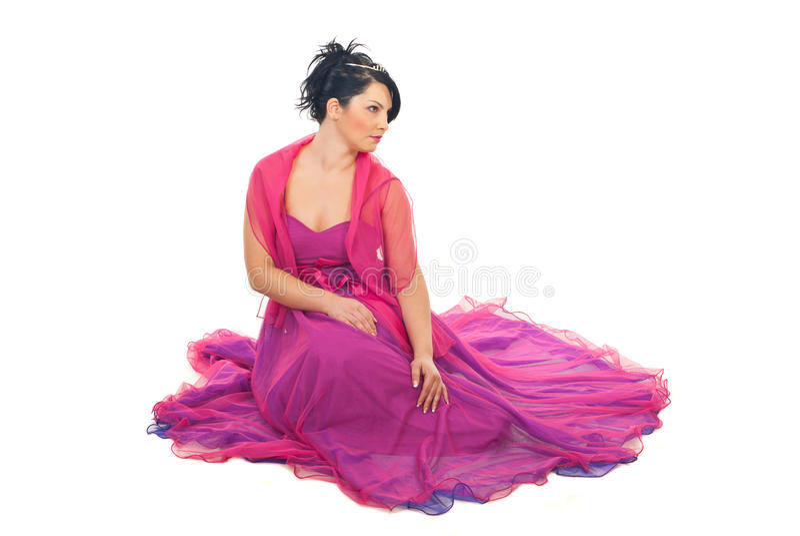 Beau femme modèle dans la robe élégante photo stock