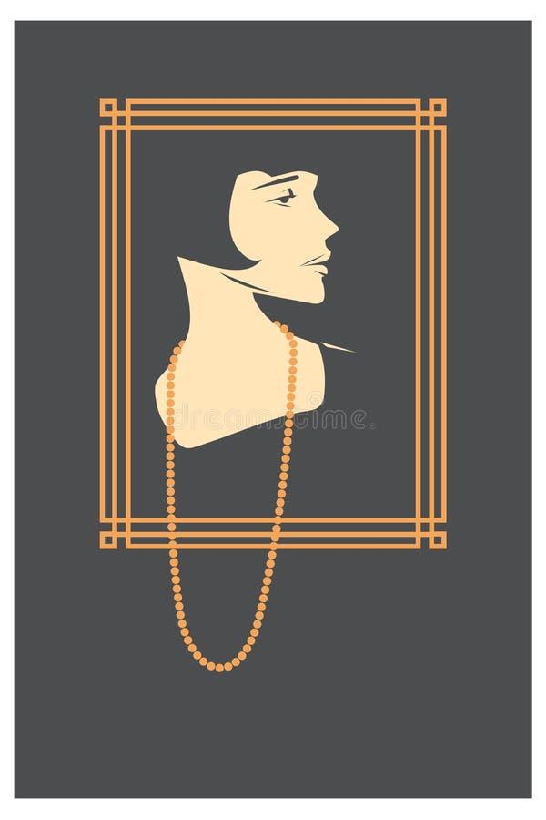 Beau femme Rétro portrait illustration libre de droits
