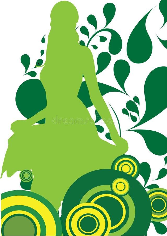 Beau femme sur le vert illustration libre de droits